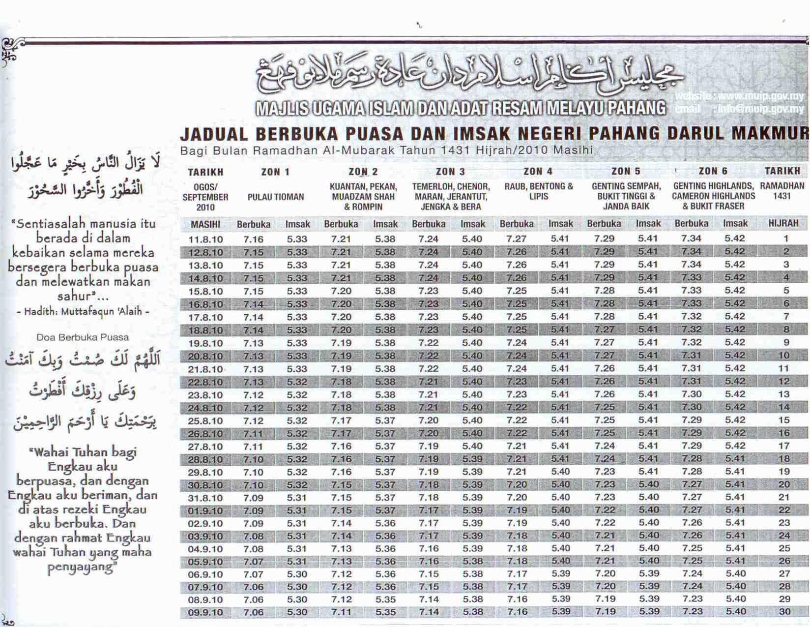 Jadual Berbuka Puasa dan Bersahur Negeri Pahang 2010