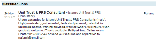Vacancy for Unit Trust & PRS Consultant