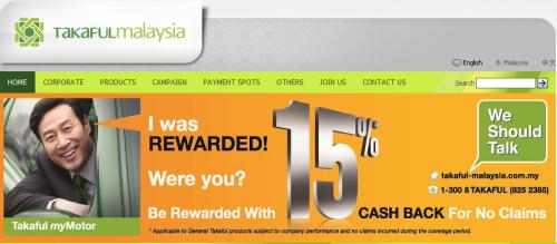 Cash Back 15% Takaful Malaysia