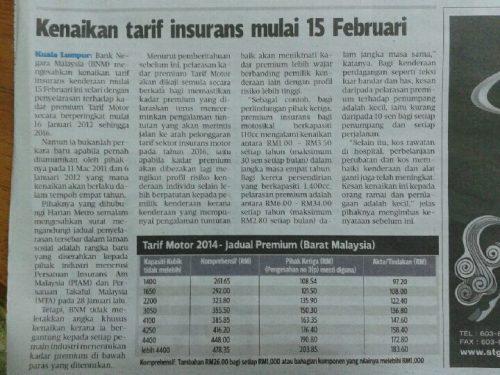 Tarif Baru Insurans Kereta 15 Feb 2014